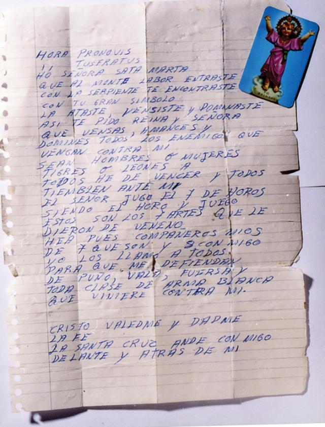পাবলো এসকোবারের লেখা প্রার্থনাপত্র। পুলিশের হাতে নিহত হবার পর পকেট থেকে এটা পাওয়া যায়।